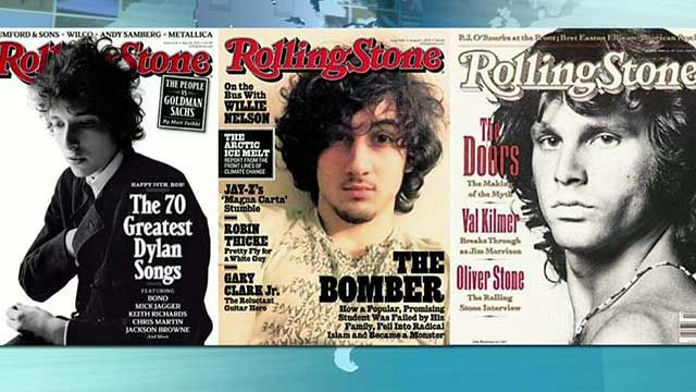 Boston Bomber Dzhokhar Tsarnaev (center) is pictured on the cover of the Rolling Stone magazine, next to other rockstars.