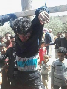 A syrian dissident, executed and crucified in Maskanah,