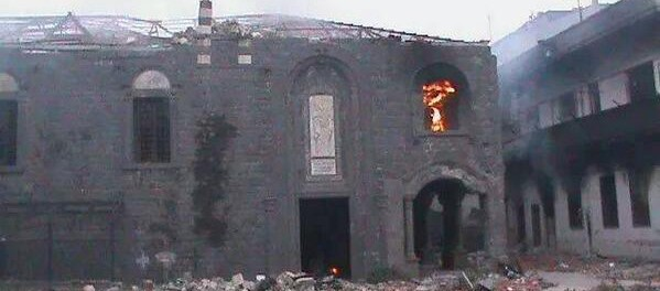 Um Al Zenar Church Burns in Syria city of Holms